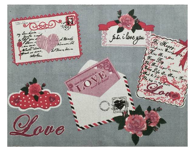 Tappeto cotone stampa Paris Love 60x90