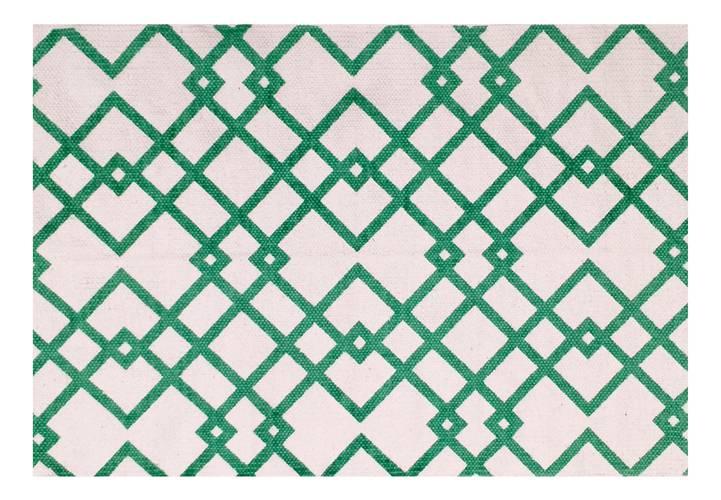 Tappeto cotone stampa geometrica linee verdi 60x90