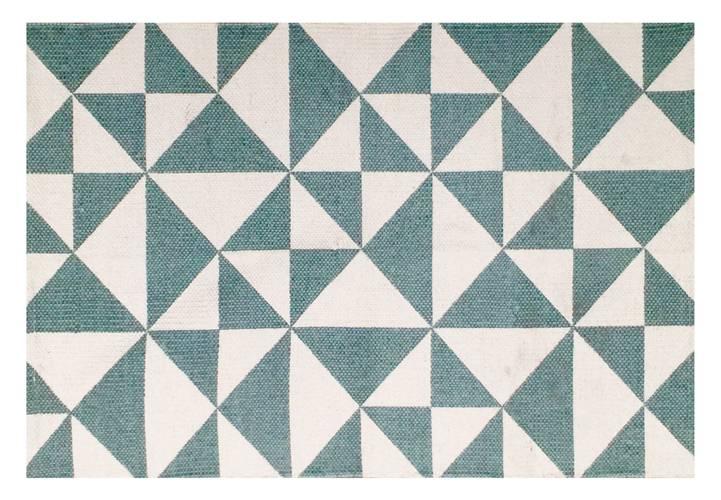 Tappeto cotone stampa geometrica triangoli blu 60x90