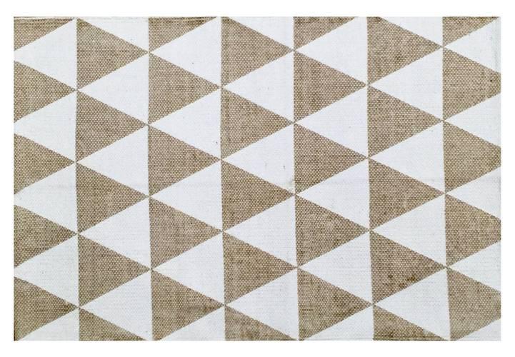 Tappeto cotone stampa geometrica triangoli ecru 60x90
