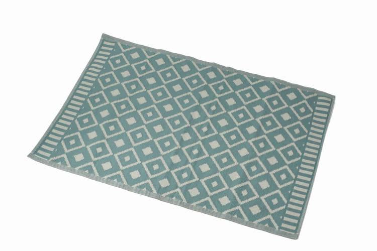 Tappeto intreccio pvc azzurro rombi bianchi 140x200