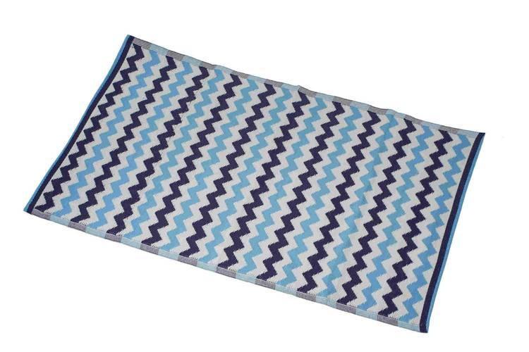 Tappeto intreccio pvc zig-zag viola e azzurri 140x200