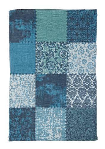 Tappeto quadri blu cotone 70x140