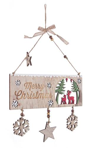 Targa natalizia legno naturale Merry Christmas