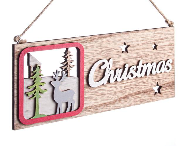 Targa natalizia legno naturale Renna Christmas
