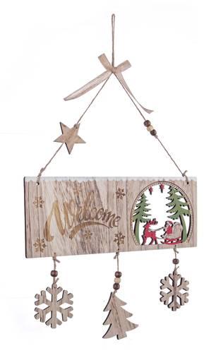 Targa natalizia legno naturale Welcome