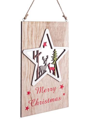 Targa natalizia legno naturale stella Merry Christmas