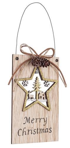 Targhetta natalizia legno naturale stella Merry Christmas