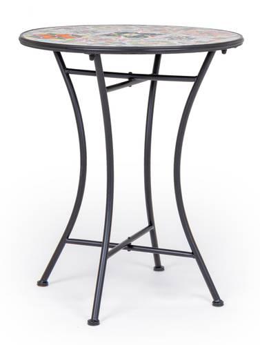 Tavolino ceramica colorata e ferro nero tondo cm60