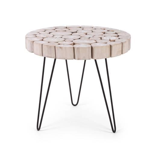 Tavolino dischi teak bianco tondo cm56