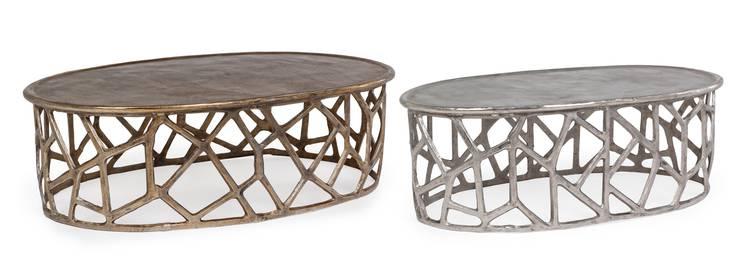 Tavolino metallo ovale salotto base traforata
