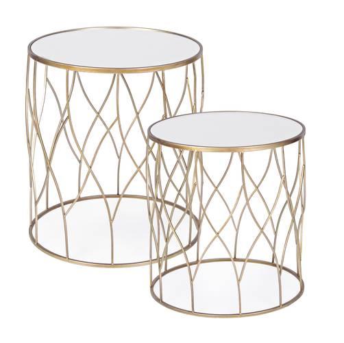Tavolino salotto alto metallo oro tondo con vetro a specchio