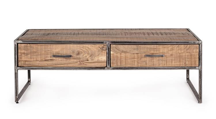 Tavolino salotto legno industrial con ferro 2 cassetti