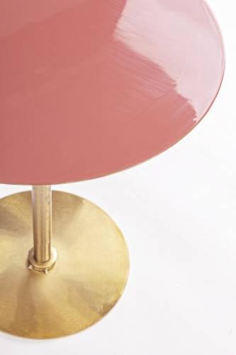 Tavolino salotto metallo oro e piano smaltato rosa cm40