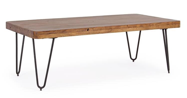 Tavolino salotto rettangolare vintage legno e ferro 115x60