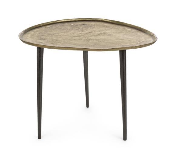 Tavolino salotto sagomato ovale alluminio ottone