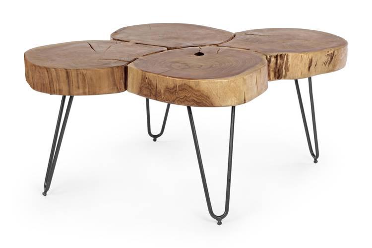 Tavolino salotto tronchi acacia 90x60
