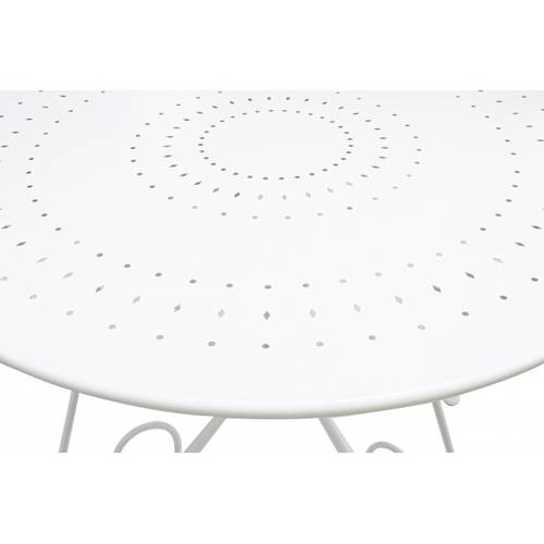 Tavolo tondo ferro bianco modello romantique cm 90