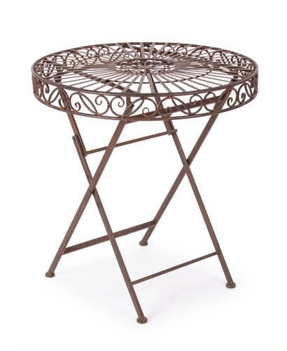 Tavolo tondo pieghevole ferro marrone  cm70