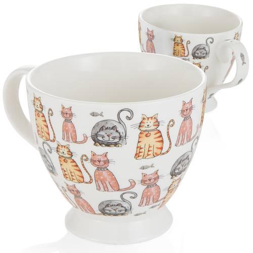 Tazza colazione gatti colorati con manico
