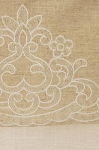 Tenda cotone bianco top ecru ricamato 60x220