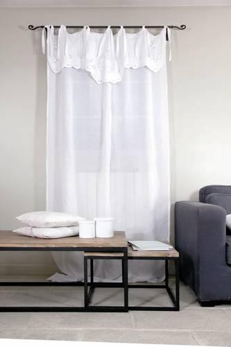 Tenda lino bianca con mantovana ricamo fiore 140x250h