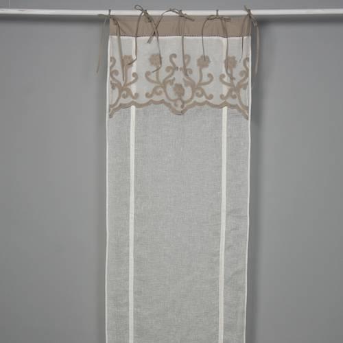 Tenda lino con mantovana ricami beige