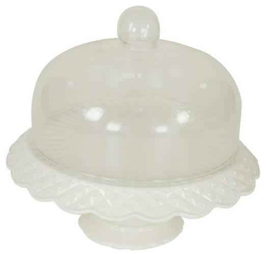 Tortiera ceramica con alzata bordo rombi e campana vetro