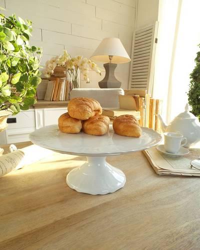 Tortiera con alzata porcellana bianca ramage