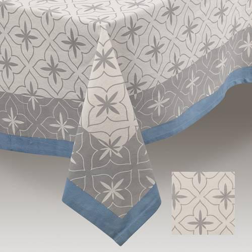 Tovaglia cotone fantasia grigia bordo blu 150x250