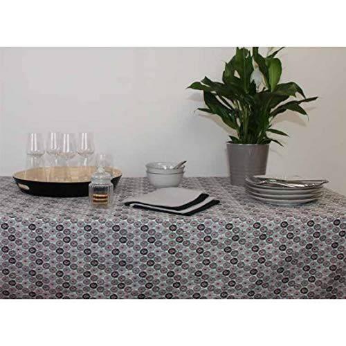 Tovaglia cotone plastificato stampa piume pavone grigio