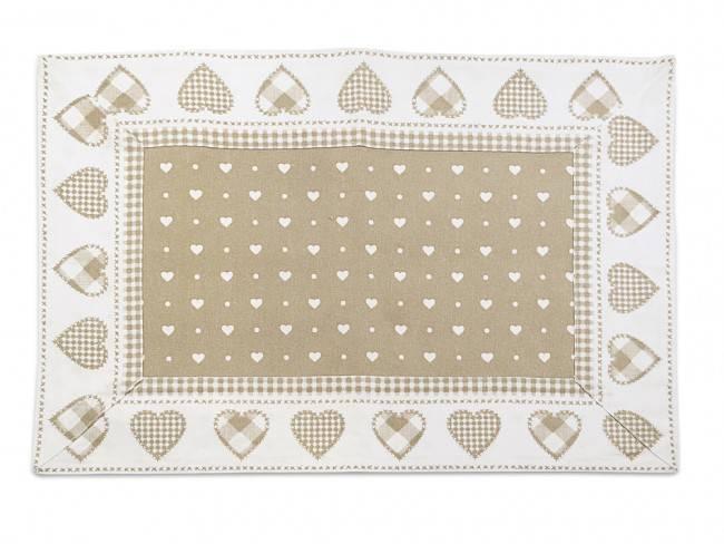 Tovaglietta americana cotone bianca cuori beige