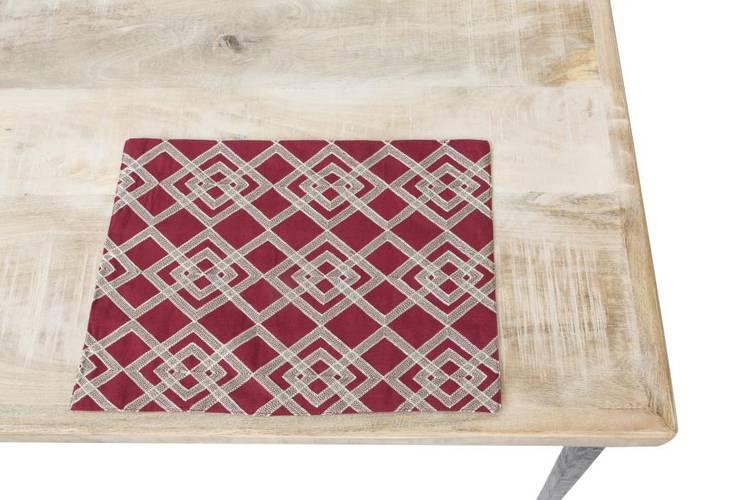 Tovaglietta americana cotone rossa ricamata