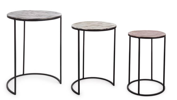 Tris tavolini tondi da salotto piano alluminio anticato
