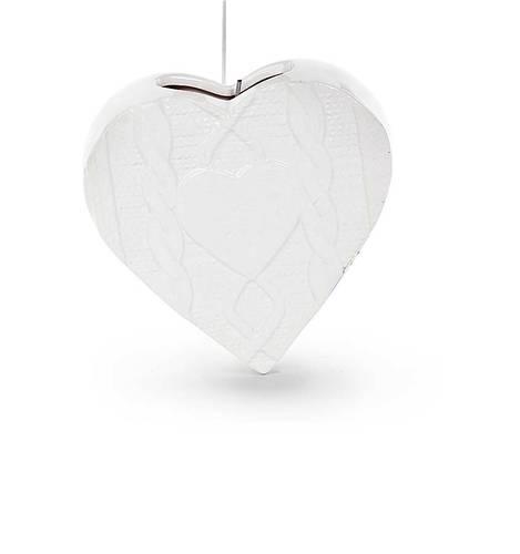 Umidificatore ceramica cuore bianco disegno treccia
