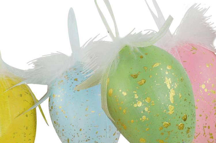 Uovo colorato da appendere con piume 10h