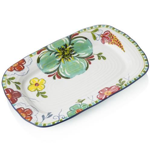 Vassoio ceramica frida con fiori