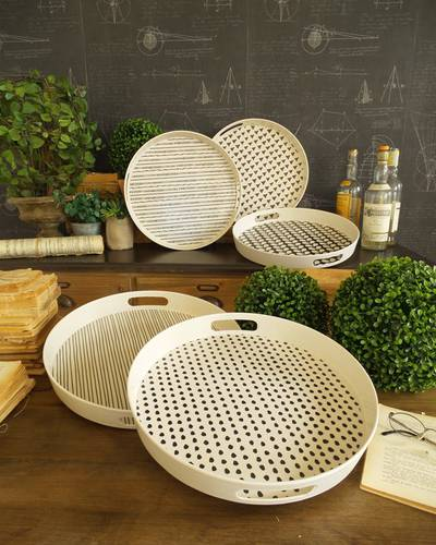 Vassoio fibra di bamboo tondo decoro nero
