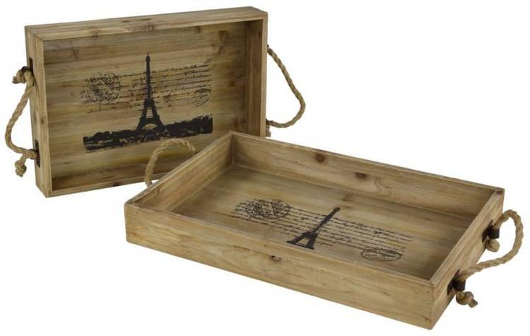 Vassoio legno Paris rettangolare grande
