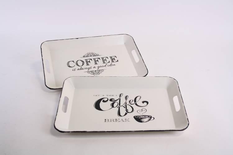 Vassoio metallo bianco Coffee
