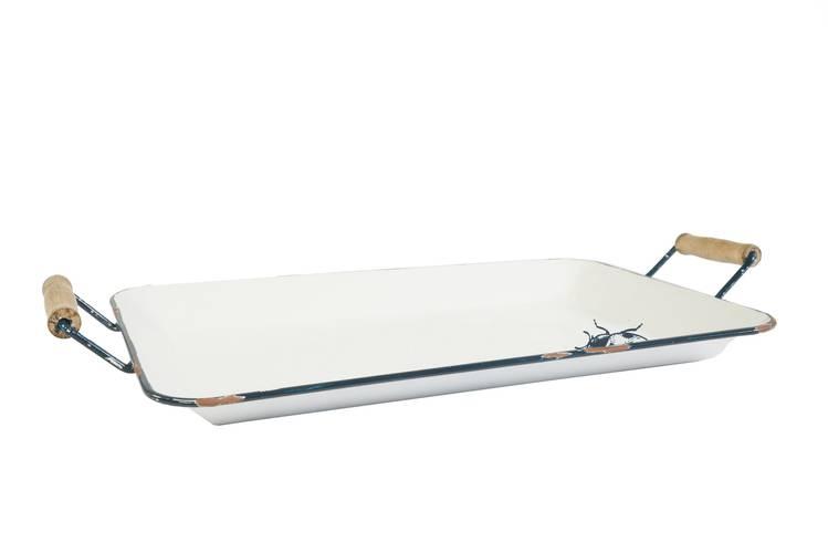 Vassoio metallo bianco smaltato coccinella 60x35