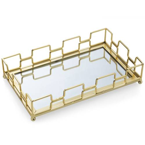 Vassoio rettangolare geometrie metallo oro con specchio