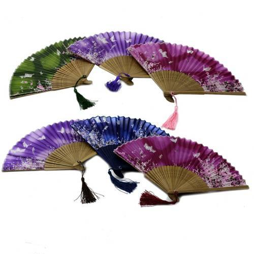 Ventaglio bamboo e seta stampa farfalle
