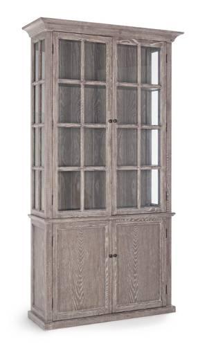 Vetrina coloniale legno natural frassino 4 ante con vetri