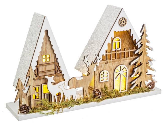 Villaggio case legno luminose luce led