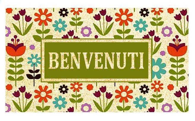 Zerbino cocco Benvenuti fiori colorati 40x70