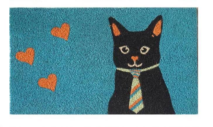 Zerbino cocco azzurro gatto con la cravatta 40x70