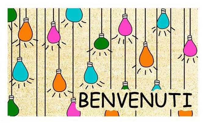 Zerbino cocco Benvenuti lampadine colorate 40x70