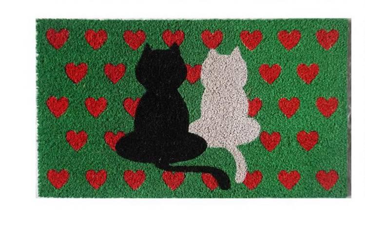 Zerbino cocco verde due gatti con cuori rossi