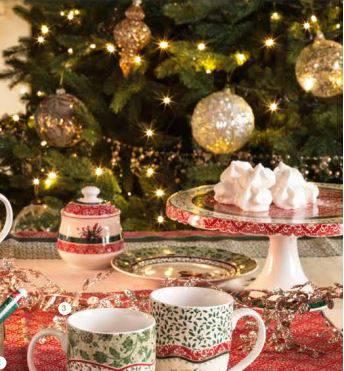 Alzata torta Cantico porcellana decori rossi